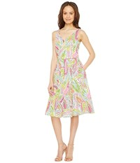 Tahari By Arthur S. Levine Printed Cotton Sundress White Lime Peony Women's Dress Green