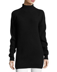 Thierry Mugler Knit Wrap Back Turtleneck Sweater Black