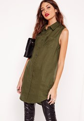 Missguided Pocket Curve Hem Sleeveless Shirt Khaki Beige