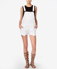 Hudson Jeans Florence Ripped Denim Overalls Destroyed White