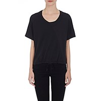 Skin Women's Spliced Drawstring T Shirt Black