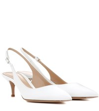 Gianvito Rossi Patent Leather Sling Back Pumps White