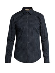 Burberry Geometric Print Button Cuff Cotton Shirt Navy Multi