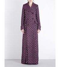 Alessandra Rich Double Breasted Boucle Tweed Coat Magenta