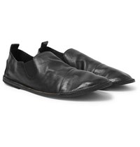 Marsell Cap Toe Washed Leather Loafers Black