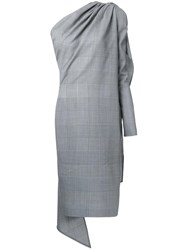 Gareth Pugh Glen Plaid Asymmetric Dress Grey