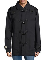 Sergio Rossi Hooded Cotton Toggle Jacket Blue