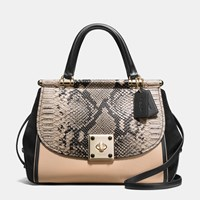 Coach Drifter Carryall In Colorblock Exotic Embossed Leather Light Gold Beechwood Multi