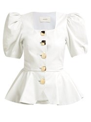 Rodarte Square Neck Puffed Sleeve Leather Blouse White Gold