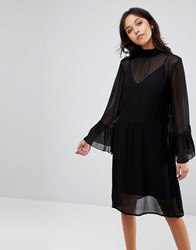 Gestuz Floaty Dress With Fluted Sleeves Black