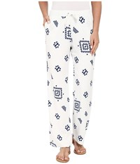 Plush K'in Beach Pants White Navy With Lining Women's Pajama
