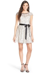 Steppin Out Floral Lace Cap Sleeve Skater Dress Ivory Black Pearl Blush