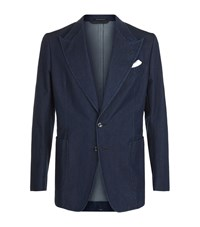 Tom Ford Denim Peak Lapel Jacket Blue