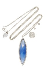 Meira T White Gold Blue Sapphire Marquis Shape Charm Necklace