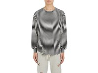 Nsf Men's Striped Cotton Blend Long Sleeve T Shirt Black White No Color