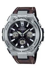 G Shock Baby G Men's Steel Solar Leather Strap Watch 59Mm Brown Black Silver
