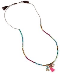 Betsey Johnson Gold Tone Colorful Bead Charm Long Length Pendant Necklace Multi