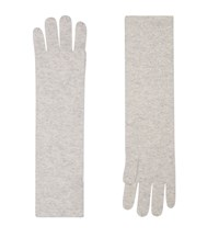 William Sharp Long Cashmere Embellished Gloves Grey