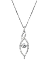 Twinkling Diamond Star Diamond Swirl Pendant Necklace In 14K White Gold 3 8 Ct. T.W.