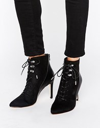 Call It Spring Annebella Lace Up Point Heeled Ankle Boots Black Synthetic