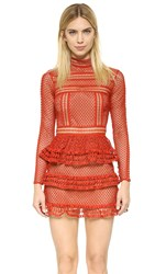 Self Portrait High Neck Lace Panel Dress Crimson Red