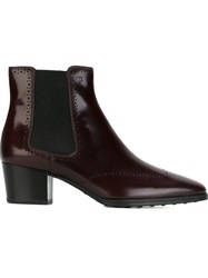 Tod's Brogue Detailing Ankle Boots Red