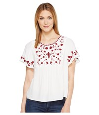 Lucky Brand Hannah Embroidered Top White Women's Short Sleeve Pullover