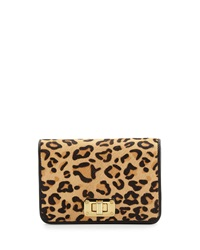 Neiman Marcus Leopard Print Calf Hair Leather Tech Crossbody Bag Natural Black
