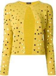 Akris Heart Embellished Cardigan Yellow And Orange