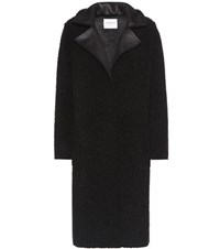 Velvet Evelette Faux Shearling Coat Black