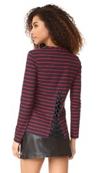 Pam And Gela Boat Neck Tee With Lace Up Back Red Navy