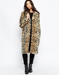 Brave Soul Faux Fur Leopard Coat Brown