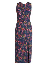 Saloni Justine Floral Leaf Print Midi Dress Navy Multi