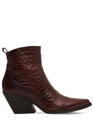 Elena Iachi 70Mm Croc Embossed Leather Boots Bordeaux