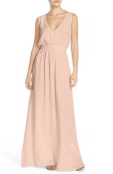 Women's Paper Crown By Lauren Conrad 'Sonoma' Tassel Back V Neck A Line Gown Silver Peony