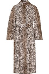 Emilia Wickstead Jill Belted Leopard Print Cotton Blend Faux Fur Coat Leopard Print