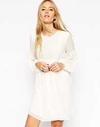 Asos Swing Boho Dress With Lace Bib Cream
