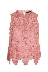 Topshop Panel Lace Shell Top Dusty Pink