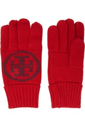 Tory Burch Intarsia Wool Gloves Red