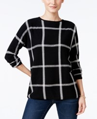 Charter Club Cashmere Windowpane Print Sweater Only At Macy's Classic Black