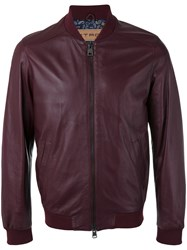 Etro Leather Bomber Jacket Pink Purple