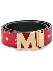Mcm M Buckle Belt Red