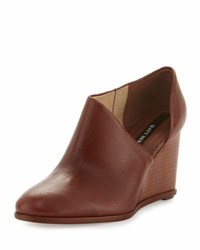 Matt Bernson Edie Leather Half D'orsay Wedge Bootie Brown
