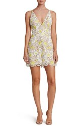 Dress The Population Women's Ellie Plunge Romper White Yellow Floral
