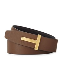 Tom Ford T Buckle Reversible Leather Belt Navy Brown Multi