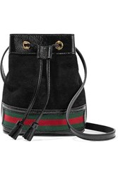 Gucci Ophidia Mini Textured Leather Trimmed Suede Bucket Bag Black