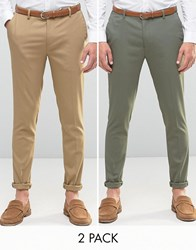 Asos 2 Pack Super Skinny Smart Trousers In Brown And Khaki Brown Khaki Multi