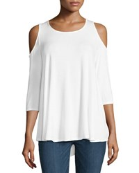 Neiman Marcus Cold Shoulder Jersey Swing Top White