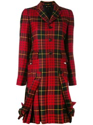 Comme Des Garcons Plaid Pleated Hem Coat Red