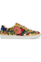 Gucci Ace Watersnake Trimmed Appliqued Metallic Leather Sneakers Gold